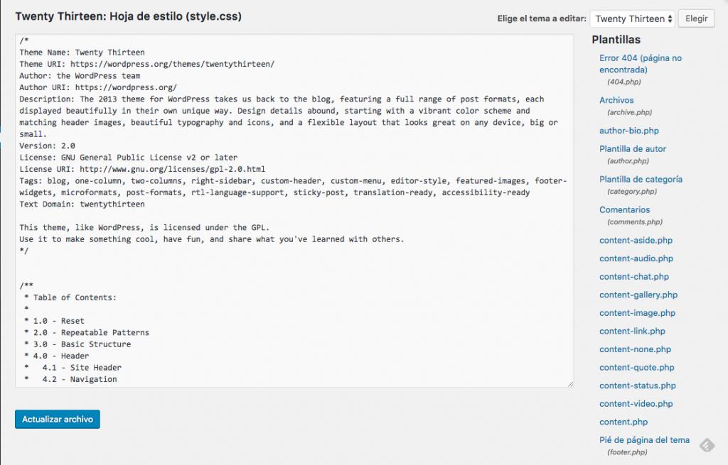 Editor de archivos de WordPress