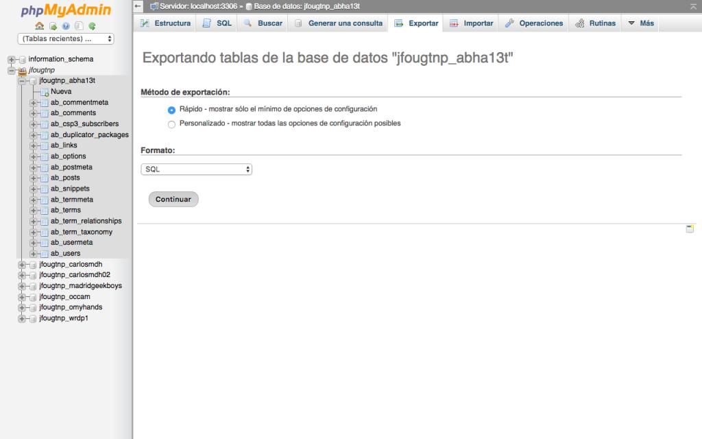 Exportar BBDD con phpMyAdmin