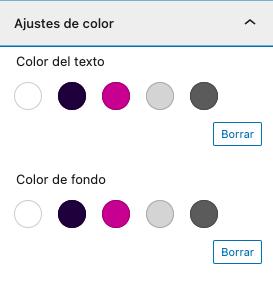 Selector de color gutenberg