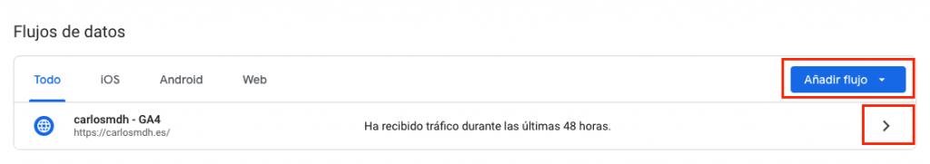 Listado de flujos de datos en Google Analytics 4