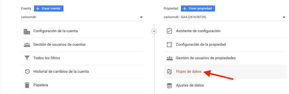 conectar una propiedad de GA4 a gtag-js