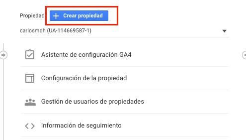 Crear nueva Propiedad de Google Analytics
