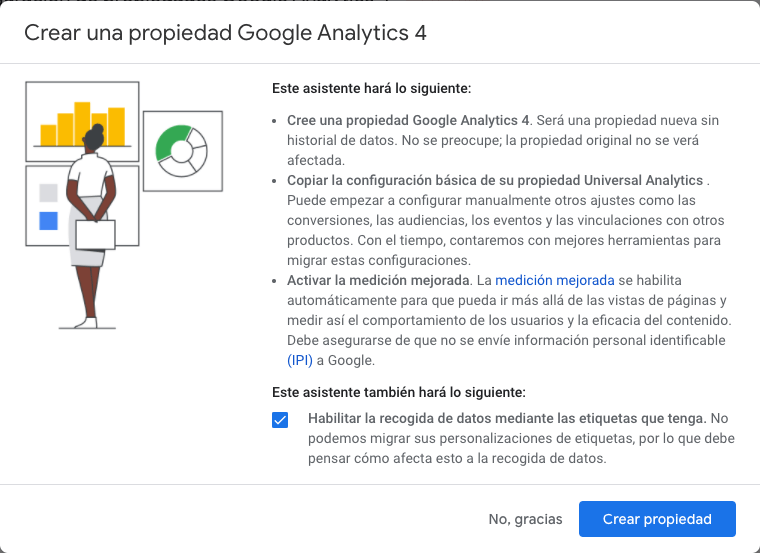 Crear una propiedad Google Analytics 4 com gtag