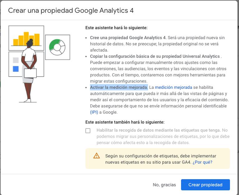 Crear una propiedad Google Analytics 4 sin gtag
