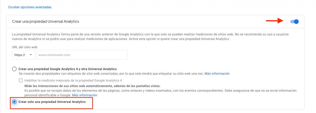 Crear propiedad de Universal Analytics en el nuevo Google Analytics