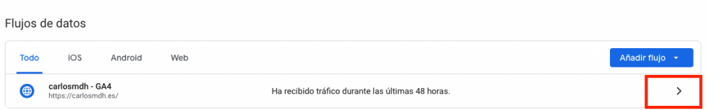 Flujos de datos en Google Analytics 4