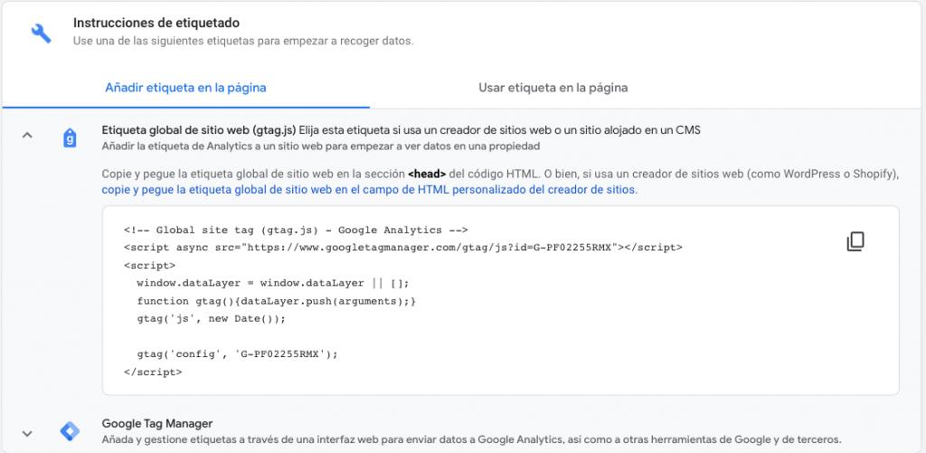 Etiqueta Google Analytics 4