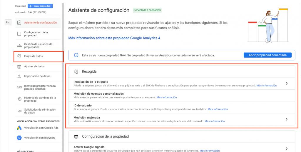 Opciones de recogida de datos en Google Analytics 4