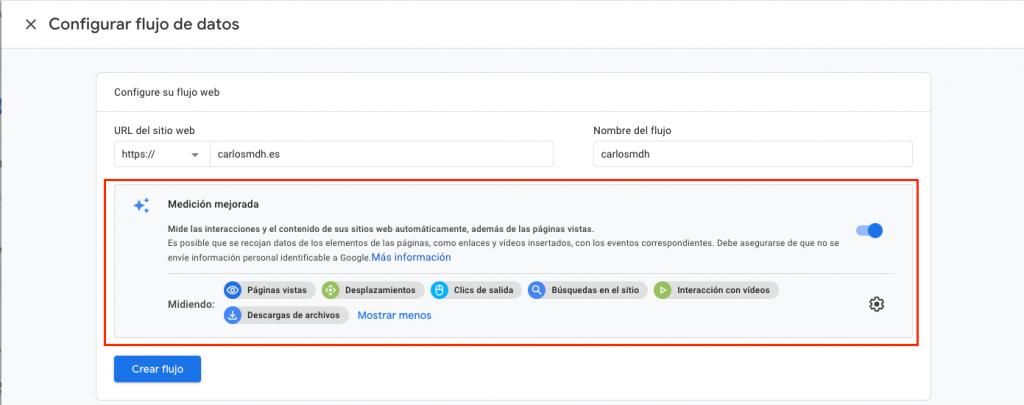 Configurar flujo de datos web GA4