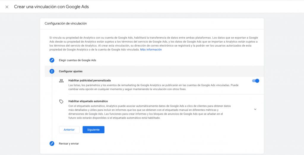 Vinculación GA4 a Google Ads