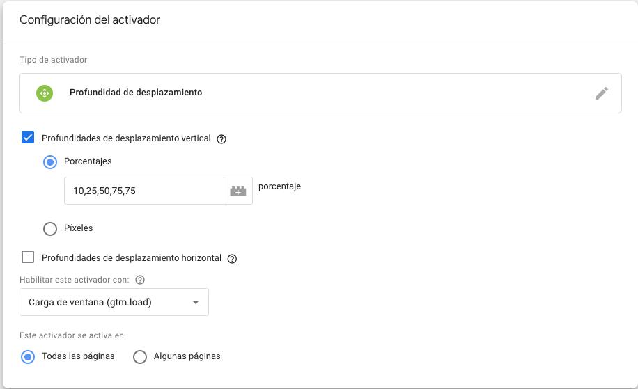 Activador porcentaje scroll