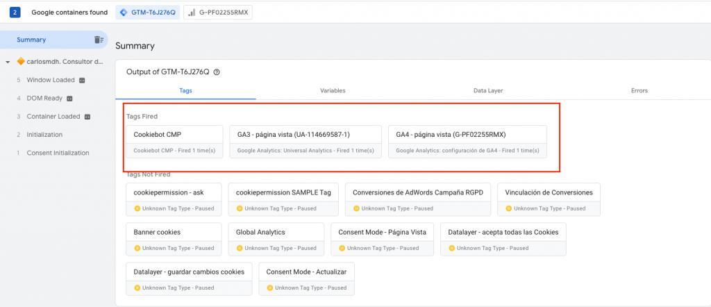 Vista previa Google Tag Manager