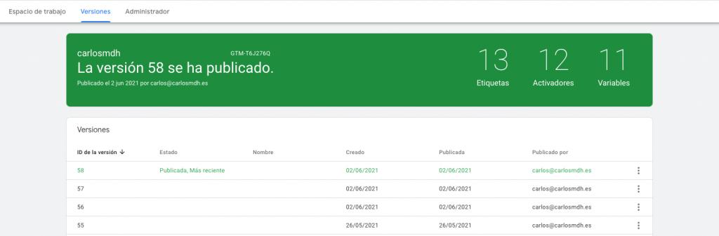 Versiones Google Tag Manager